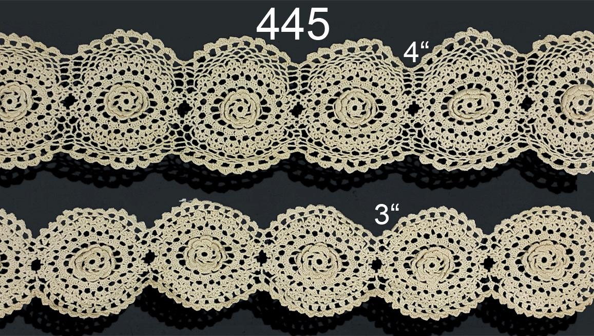 445 5 3width White Or Ecru Cotton Crochet Lace Trimming
